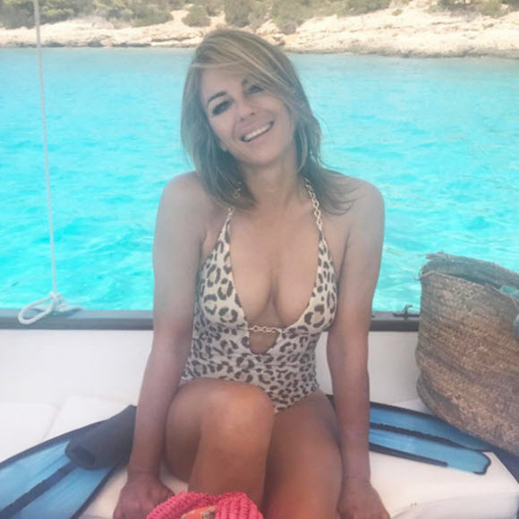 Elizabeth Hurley Showcased Her phenomenal Physique In A Leopard-Print Swimsuit