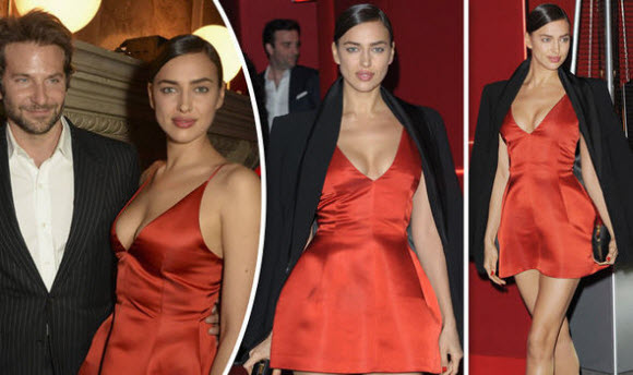 Irina Shayk puts on very busty display as attends L'Oreal launch with Bradley Cooper