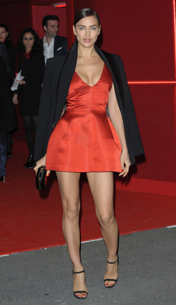 Irina flaunted her best assets in the plunging mini dress