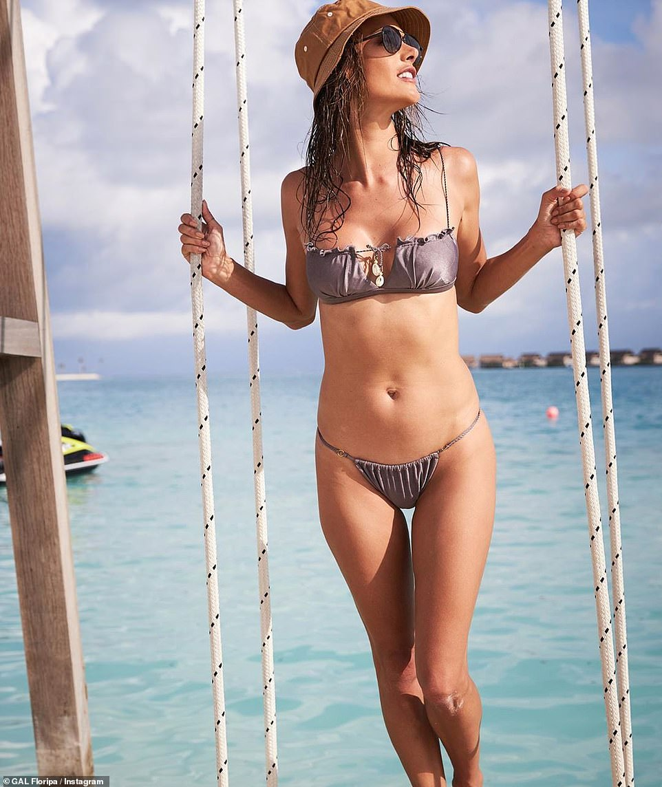 Alessandra Ambrosio Poses In A Fetching Grey Bikini From Her Line During Trip