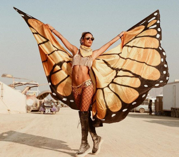 Alessandra Ambrosio Swaps Out Her Victoria's Secret Angel Wings For Butterfly Wings As She Rocks Out At Burning Man