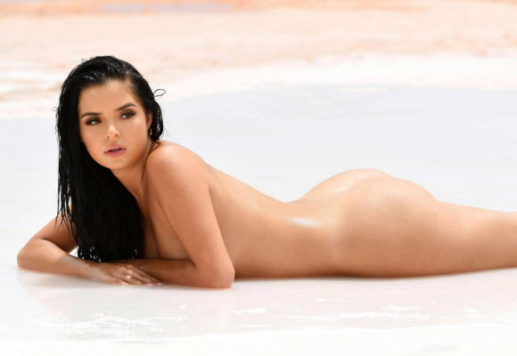 Demi Rose Poses Nude And Lay On The Sand In Her Latest Snap