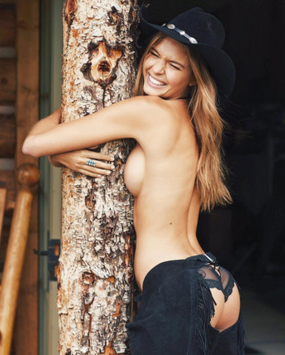 Josephine Skriver Poses Topless As She Show Off Bottom In Leather Chaps
