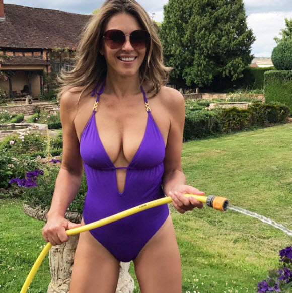 Elizabeth Hurley Display Her Gorgeous Bust In Red Hot Swimsuit
