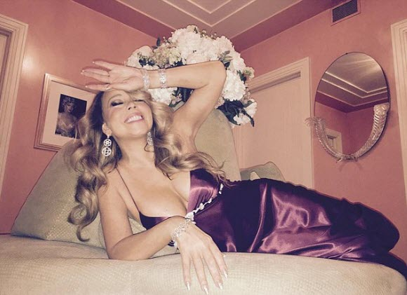 Mariah Carey unwinds in cleavage baring lingerie and diamonds at end of holiday concert series