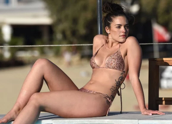 Olympia Valance Goes Topless And Flashes Bottom In Black Thong Bikini At Mykonos Beach