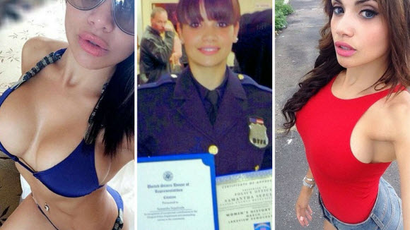 Samantha Sepulveda , Officer in the morning and lingerie model in the evening