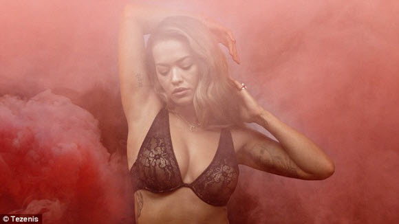 Rita Ora In Stunning Look With Sexy Lace Bra In Tezenis Lingerie Campaign